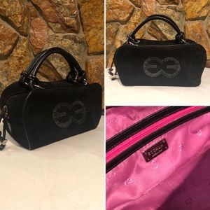 Authentic Escada Black Suede & Leather Handbag